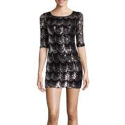Crystal Sky 3/4-Sleeve Scalloped Sequin Bodycon Dress