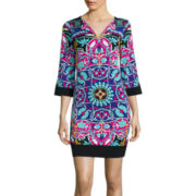 nicole by Nicole Miller® 3/4-Sleeve Split-Neck Shift Dress