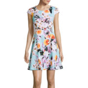 Worthington® Floral Print Fit-and-Flare Dress