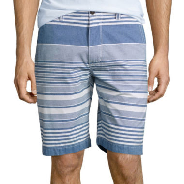 "jcpenney.com | Arizona Stripe 10¼"" Inseam Flat-Front Shorts"