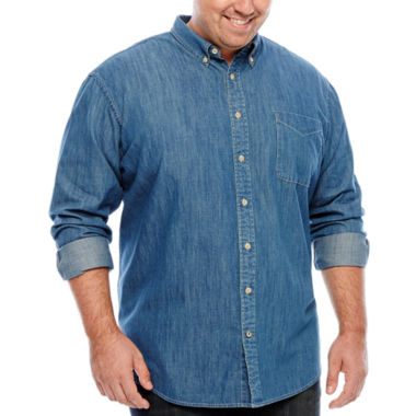 jcpenney.com | The Foundry Big & Tall Supply Co.™ Long-Sleeve Button-Front Woven Shirt
