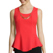 by&by Sleeveless High-Low Peplum Necklace Top