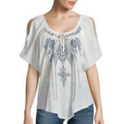 by&by Short-Sleeve Cold-Shoulder Embroidered Top