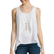by&by Layered Lace Necklace Tank Top