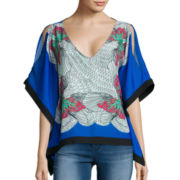 XOXO 3/4-Sleeve Cold Shoulder Placement Print Necklace Poncho