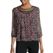 Alyx® Long-Sleeve Lattice Front Bubble Top