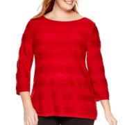 St. John's Bay® 3/4-Sleeve Jacquard Stripe Dolman Knit Top - Plus