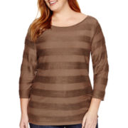 St. John's Bay® 3/4-Sleeve Jacquard Stripe Dolman Knit Top - Plus