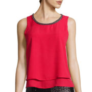 Bisou Bisou® Sleeveless Beaded Tier Top