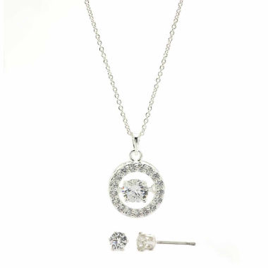 jcpenney.com | Sparkle Allure Clear Cubic Zirconia Round Heartbeat Pendant With Stud Earrings