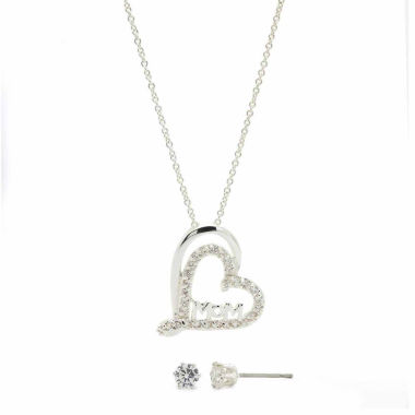 jcpenney.com | Sparkle Allure Clear Cubic Zirconia Silver Mom In Heart Pendant With Earrings