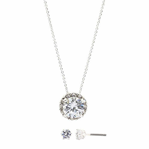 Sparkle Allure Cubic Zirconia Round Pave Pendant With Cubic Zirconia Stud Earrings Set