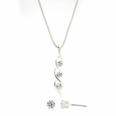 jcpenney.com | Sparkle Allure Clear Cubic Zirconia Twisted Round Stone Pendant And