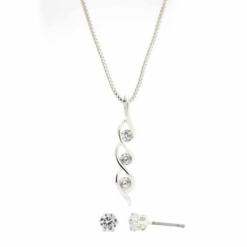 Sparkle Allure Clear Cubic Zirconia Twisted Round Stone Pendant And