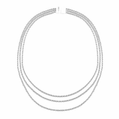 jcpenney.com | Monet Jewelry Womens Silvertone Three Row Collar Necklace