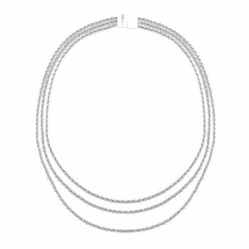 Monet Jewelry Womens Silvertone Three Row Collar Necklace