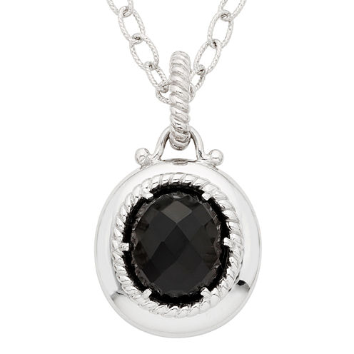 Womens Black Onyx Sterling Silver Pendant Necklace