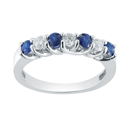 Womens 1/3 CT. T.W. Blue Sapphire 14K Gold Band