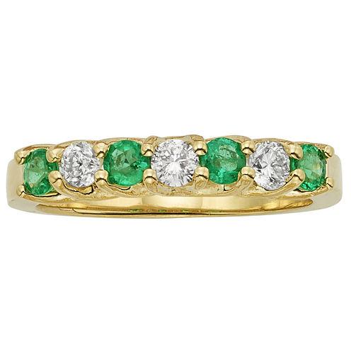 Womens 1/3 CT. T.W. Genuine Emerald 14K Gold Band