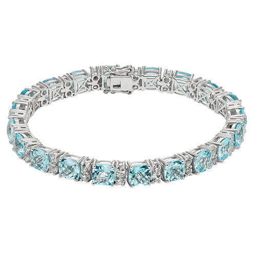 Womens Blue Topaz Sterling Silver Tennis Bracelet
