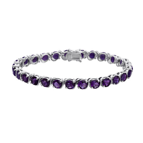 Womens Purple Amethyst Sterling Silver Tennis Bracelet