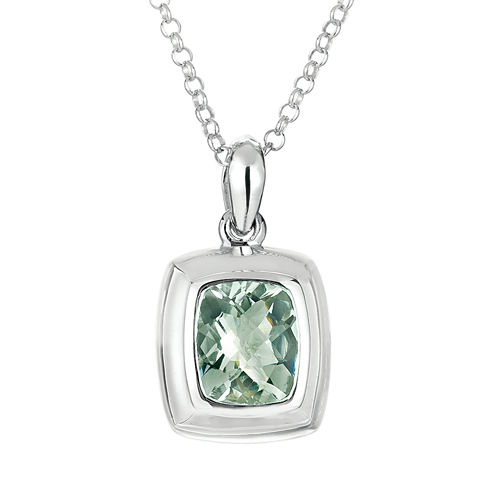 Womens Green Amethyst Sterling Silver Pendant Necklace