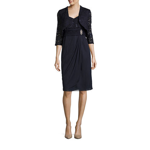 R & M Richards 3/4 Sleeve Embellished Dress Set-Talls