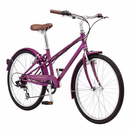 "Schwinn Mifflin 24"" Girls Front Suspension Hybrid Bike"