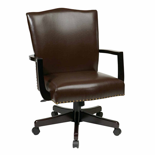 Morgan Managers Chair with Thick Padded Bonded Leather Seat and Back with Steel Reinforced Wood Base and Dual Wheel Carpet Casters