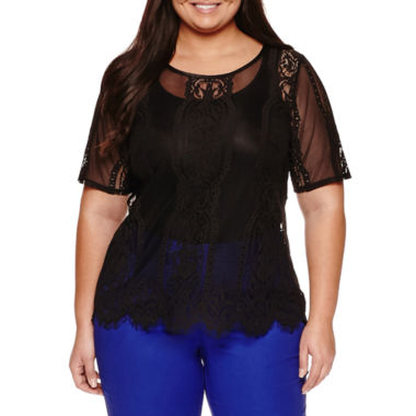 jcpenney.com | Worthington® Short Sleeve Lace Shell - Plus