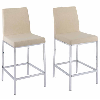 CorLiving Huntington Fabric Bar Stools With Chrome Legs, Counter Height,  Set Of 2