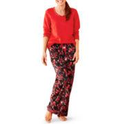 Liz Claiborne® Microfleece Long-Sleeve Pajama Set