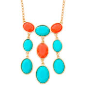 Liz Claiborne® Aqua and Coral Gold-Tone Long Necklace