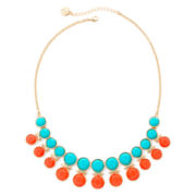 Liz Claiborne® Aqua and Coral Gold-Tone Shower Necklace