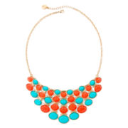 Liz Claiborne® Aqua and Coral Gold-Tone Drama Necklace