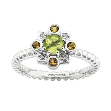 jcpenney.com | Personally Stackable Sterling Silver Genuine Peridot & Citrine Ring