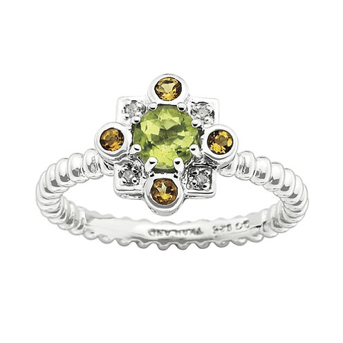 Personally Stackable Sterling Silver Genuine Peridot & Citrine Ring