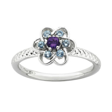 jcpenney.com | Personally Stackable Genuine Amethyst & Blue Topaz Flower Ring