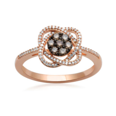 jcpenney.com | 1/3 CT. T.W. White & Champagne Diamond 10K Rose Gold Flower Ring