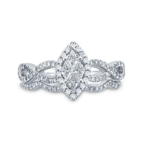 3/4 CT. T.W. Diamond 14K White Gold Marquise-Style Bridal Ring Set