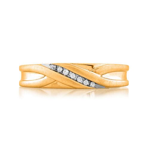 Mens Diamond-Accent 14K Yellow Gold Wedding Band