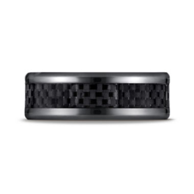 jcpenney.com |  Mens Black Titanium Carbon Fiber Inlay 8mm Wedding Band
