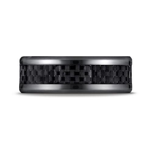 Mens Black Titanium Carbon Fiber Inlay 8mm Wedding Band