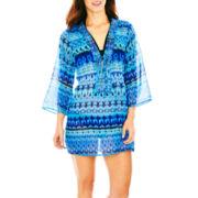 Raviya Long-Sleeve Print Tunic Cover-Up