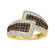 1/2 CT. T.W. White & Color-Enhanced Champagne Diamond Bypass Ring