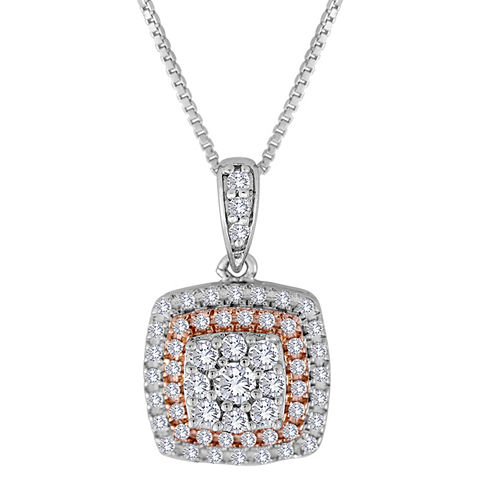 3/8 CT. T.W. Diamond Two-Tone Square Frame Pendant Necklace