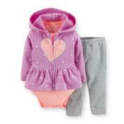 Carter's® Hoodie, Bodysuit and Pants Set - Girls newborn-24m