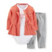 Carter's® 3-Piece Peplum Cardigan Set – Girls newborn-24m