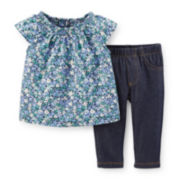Carter's® 2-pc. Flutter-Sleeve Top and Faux Denim Pants – Girls newborn-24m