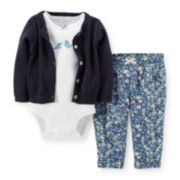 Carter's® Cardigan, Bodysuit and Pants Set – Girls newborn-24m